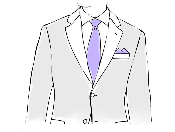 Anzug und Einstecktuch mit Zweipunkt-Falte